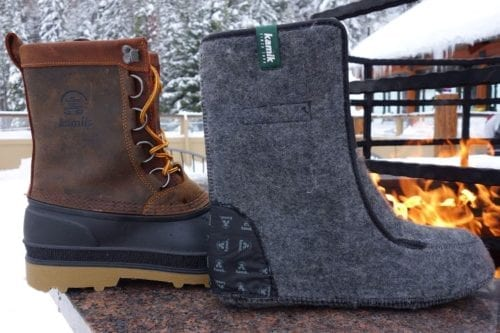 boot with wool felt boot liner