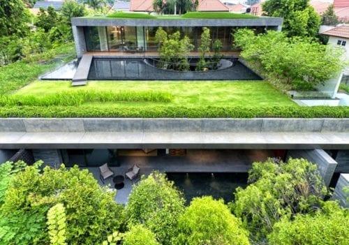 wool felt green roof
